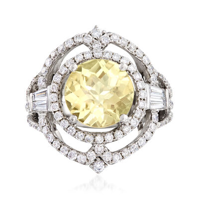 C. 1990 Vintage 3.25 Carat Citrine and 1.40 ct. t.w. Diamond Ring in 18kt White Gold