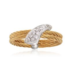 "ALOR ""Classique"" Yellow Cable Ring With Diamond Accents and 18kt White Gold. Size 7, , default"