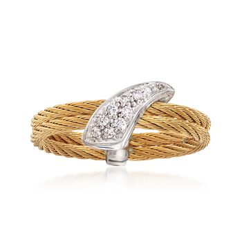"""ALOR """"Classique"""" Yellow Cable Ring With Diamond Accents and 18kt White Gold. Size 7, , default"""