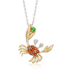 ".30 ct. t.w. Multi-Stone Crab Pendant Necklace in Two-Tone Sterling Silver. 18"", , default"