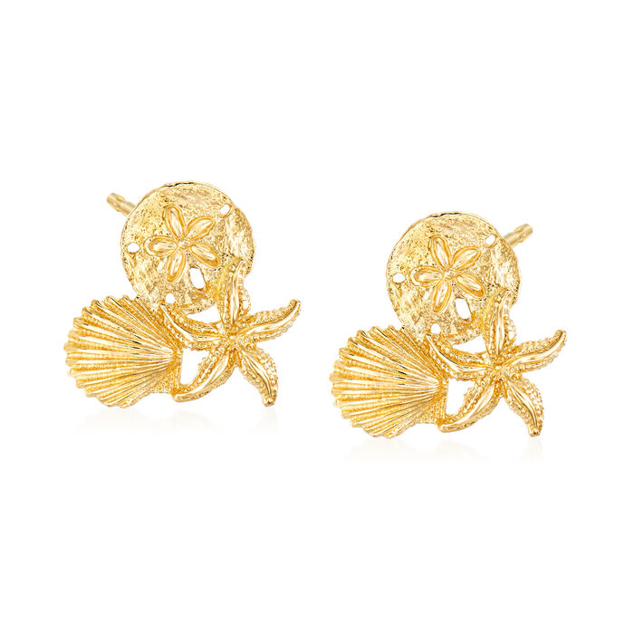 14kt Yellow Gold Sea Life Trio Earrings