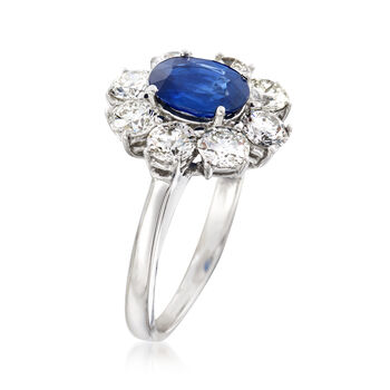 1.50 Carat Sapphire and 2.00 ct. t.w. Diamond Floral Ring in 14kt White Gold