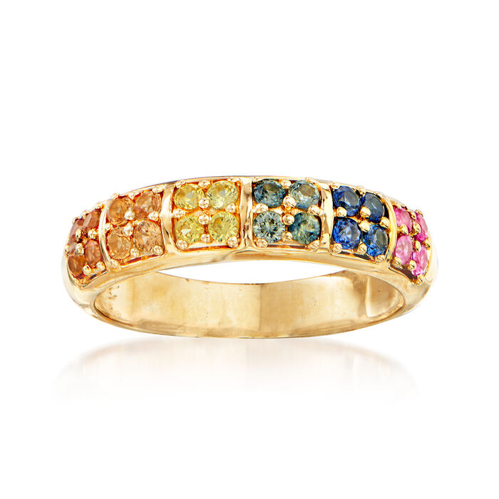 .70 ct. t.w. Multicolored Sapphire Ring in 14kt Yellow Gold