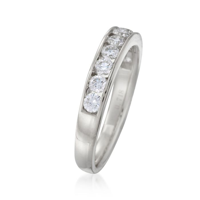 .75 ct. t.w. Channel-Set Diamond Wedding Ring in 14kt White Gold