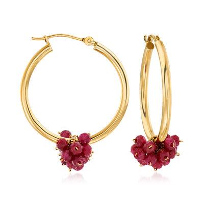 5.00 ct. t.w. Ruby Cluster Hoop Earrings in 14kt Yellow Gold