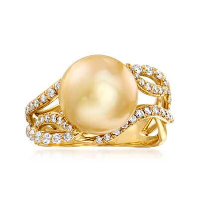 C. 1990 Vintage 11mm Champagne Cultured South Sea Pearl and .77 ct. t.w. Diamond Ring in 18kt Yellow Gold