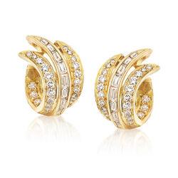 C. 2000 Vintage 2.15 ct. t.w. Diamond Swirl Earrings in 18kt Yellow Gold, , default