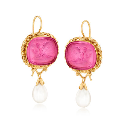Italian Cultured Pearl and Pink Venetian Glass Cameo Drop Earrings in 18kt Gold Over Sterling, , default