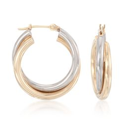 14kt Two-Tone Gold Hoop Earrings, , default