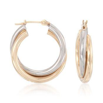 "14kt Two-Tone Gold Hoop Earrings. 7/8"", , default"