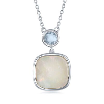 Mother-Of-Pearl and .60 Carat Blue Topaz Drop Necklace in Sterling Silver, , default