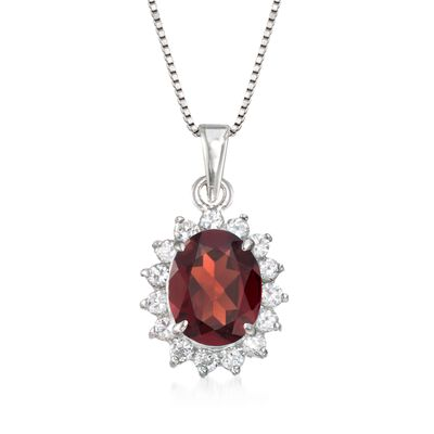 2.50 Carat Garnet and .45 ct. t.w. CZ Pendant Necklace in Sterling Silver, , default
