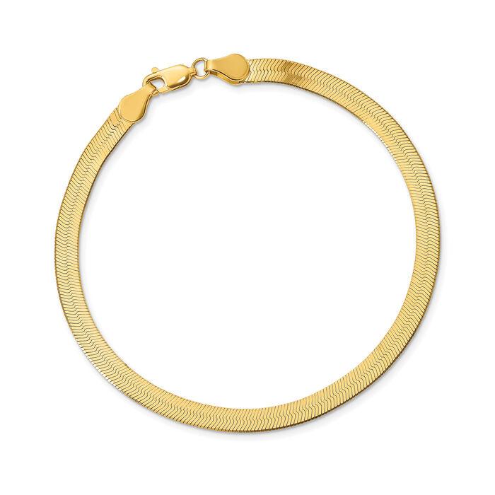 "14kt Yellow Gold 4mm Herringbone Bracelet. 8"", , default"