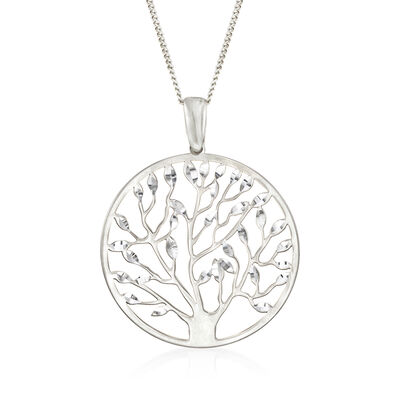 Italian Sterling Silver Cut-Out Tree of Life Pendant Necklace, , default