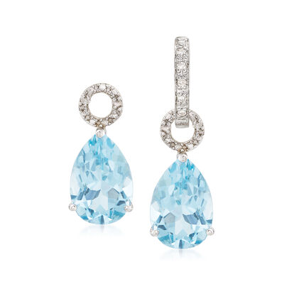 6.50 ct. t.w. Blue Topaz Pear-Shaped Earring Charms in Sterling Silver, , default