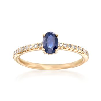 .60 Carat Sapphire and .11 ct. t.w. Diamond Ring in 14kt Yellow Gold, , default
