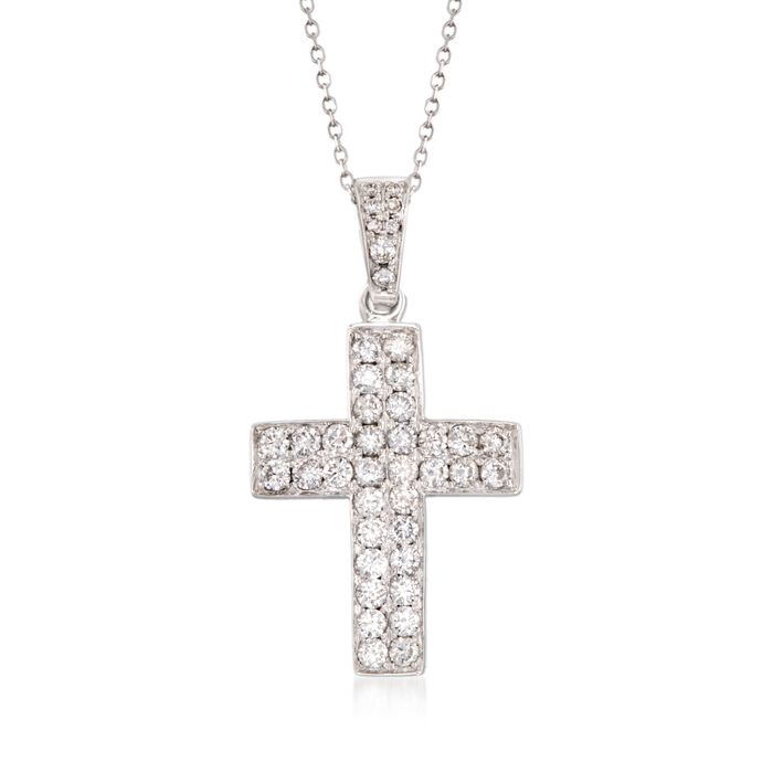 "1.00 ct. t.w. Diamond Cross Pendant Necklace in 14kt White Gold. 18"", , default"