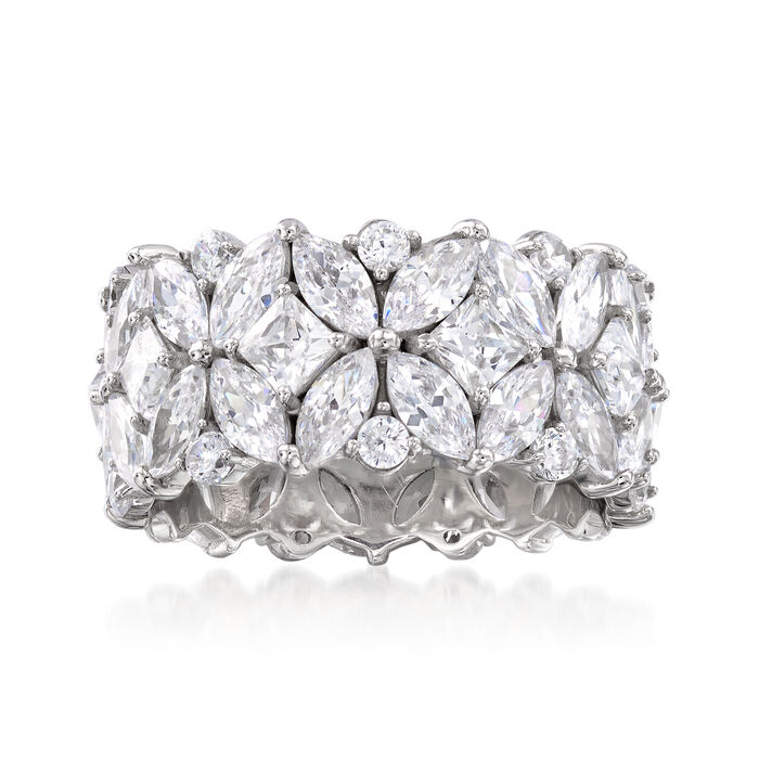 7.30 ct. t.w. Multi-Shaped CZ Eternity Band in Sterling Silver