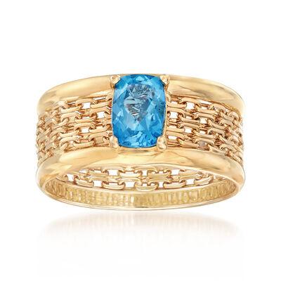 1.10 Carat Blue Topaz Bismark-Link Mesh Ring in 14kt Yellow Gold, , default