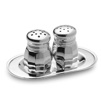 Empire Sterling Silver Salt and Pepper Shaker Set with Tray, , default