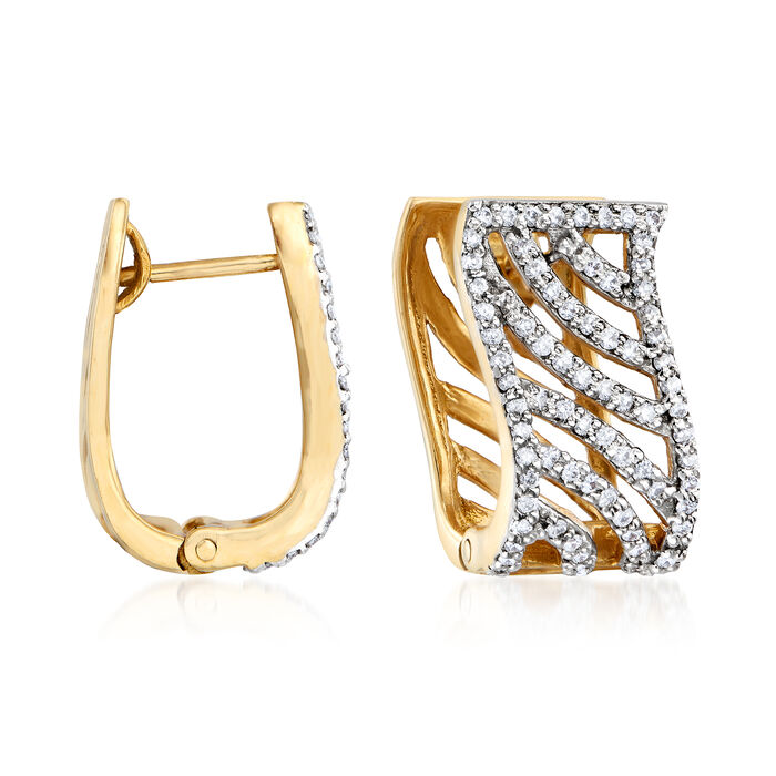 C. 1990 Vintage 1.25 ct. t.w. Diamond Diagonal Hoop Earrings in 18kt Yellow Gold. 5/8""