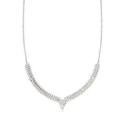 Italian Sterling Silver Wheat Chain Motif Necklace, , default