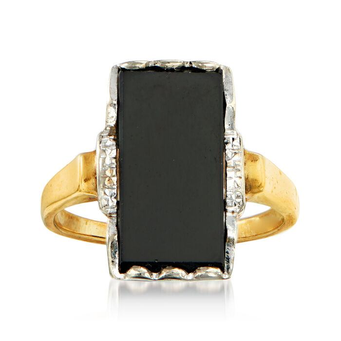 C. 1950 Vintage Black Onyx Ring in 10kt Two-Tone Gold. Size 7.5, , default