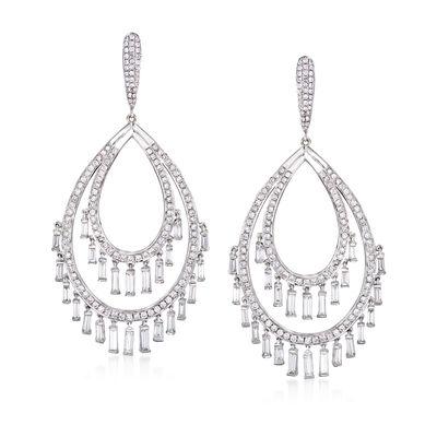 6.63 ct. t.w. Diamond Oval Tassel Drop Earrings in 18kt White Gold