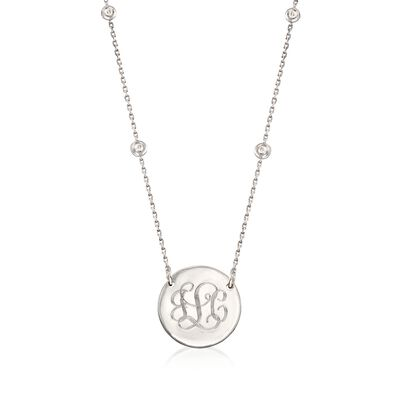 Sterling Silver Personalized Disc Station Necklace With .17 ct. t.w. Diamonds, , default