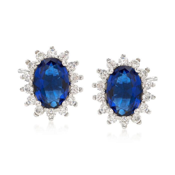 5.68 ct. t.w. Blue and White CZ Starburst Stud Earrings in Sterling Silver