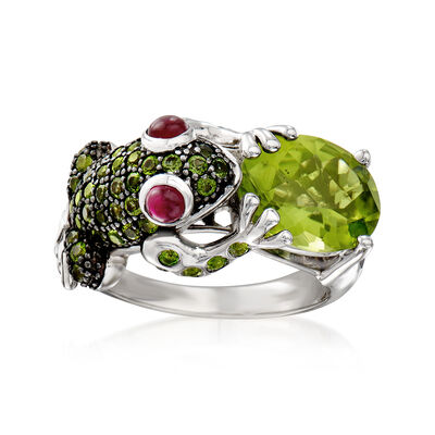 4.60 ct. t.w. Multi-Gemstone Frog Ring in Sterling Silver, , default