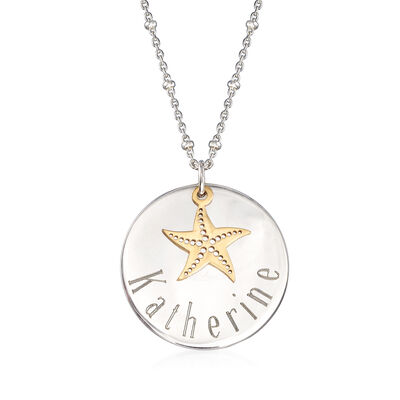 Sterling Silver Personalized Disc Necklace with 14kt Yellow Gold Starfish Charm, , default