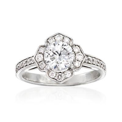 Simon G. .34 ct. t.w. Diamond Engagement Ring Setting in 18kt White Gold, , default