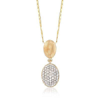 .38 ct. t.w. Pave Diamond Oval Drop Necklace in 14kt Yellow Gold, , default