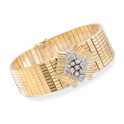C. 1960 Vintage .75 ct. t.w. Diamond Navette Bracelet in 18kt Yellow Gold, , default