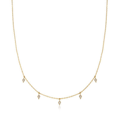 Gabriel Designs Diamond-Accented Drop Necklace in 14kt Yellow Gold