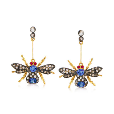 C. 1980 Vintage 1.10 ct. t.w. Sapphire and .75 ct. t.w. Diamond Bee Drop Earrings in Sterling Silver and 14kt Gold Over Sterling