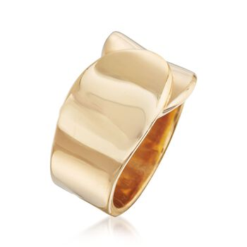 18kt Yellow Gold Over Sterling Silver Overlapping Ring, , default