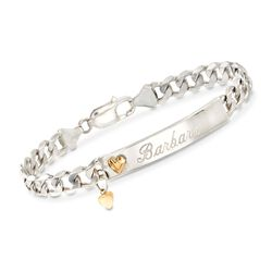 Sterling Silver Name ID Bracelet With 14kt Yellow Gold Hearts, , default