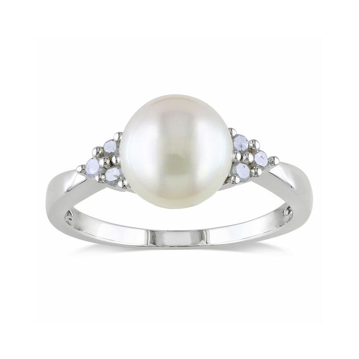 8-8.5mm Cultured Pearl and .13 ct. t.w. Diamond Ring in Sterling Silver, , default