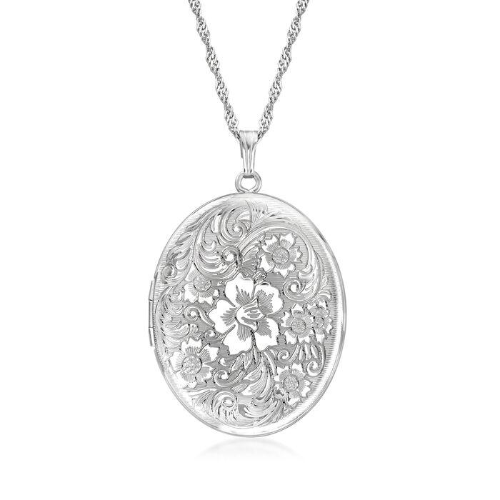Sterling Silver Personalized Floral Locket Pendant Necklace, , default