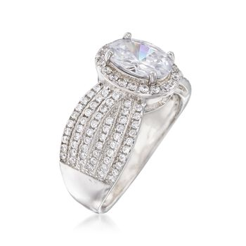 2.75 ct. t.w. CZ Multi-Row Halo Ring in Sterling Silver