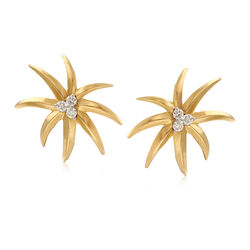 C. 1990 Vintage .40 ct. t.w. Diamond Firework Earrings in 18kt Yellow Gold, , default