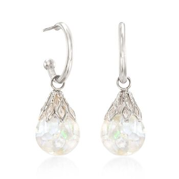 "Floating Opal Hoop Drop Earrings in 14kt White Gold. 1"", , default"