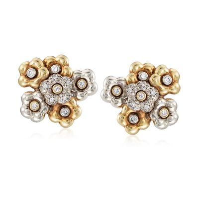 C. 1980 Vintage 1.10 ct. t.w. Diamond Floral Clip-On Earrings in 18kt Two-Tone Gold, , default