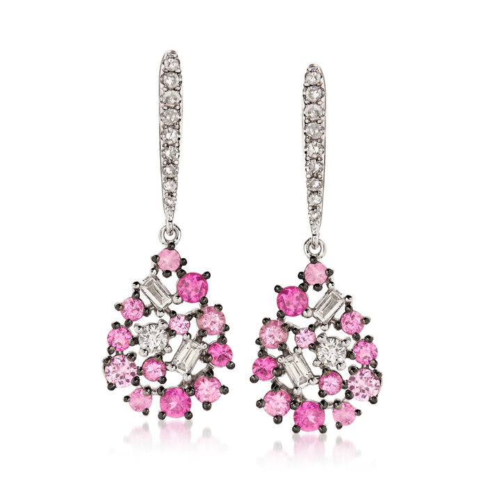 .60 ct. t.w. Pink Sapphire and .25 ct. t.w. Diamond Pear-Shaped Drop Earrings in 18kt White Gold