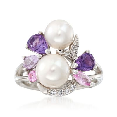 6.5-8mm Cultured Pearl and .80 ct. t.w. Amethyst Cluster Ring with Synthetic Sapphires in Sterling Silver