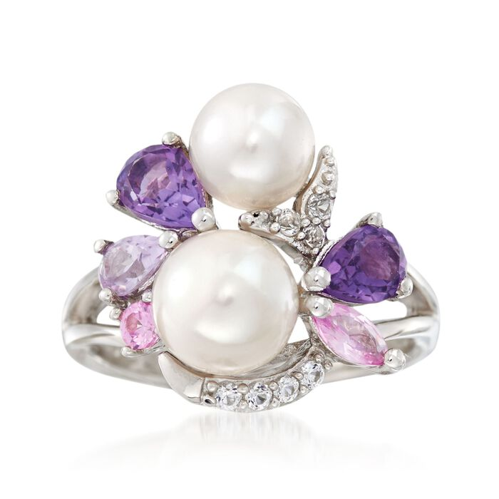 6.5-8mm Cultured Pearl and .80 ct. t.w. Amethyst Cluster Ring with Synthetic Sapphires in Sterling Silver, , default