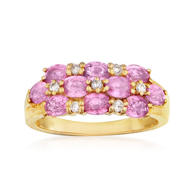 C. 1990 Vintage 1.80 ct. t.w. Pink Sapphire and .15 ct. t.w. Diamond Ring in 14kt Yellow Gold