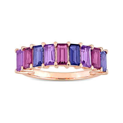 .70 ct. t.w. Multi-Gemstone Ring in 18kt Rose Gold Over Sterling
